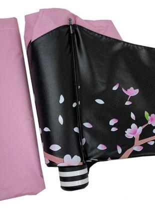 Новинка! механический мини зонт с веткой сакуры, всего 24 см в сл.виде,  розовый
