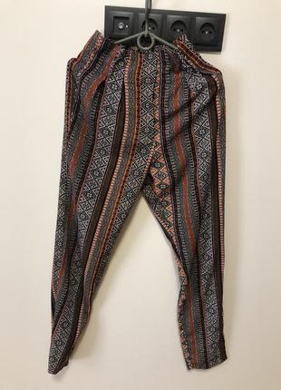 Свободные штаны высокая посадка в орнамент завышенная талия с карманами
