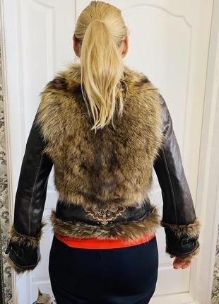 Косуха кожаная куртка мех волка