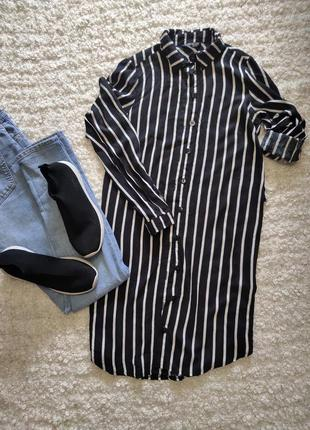 Стильная рубашка в чорно белую полоску,туника от select