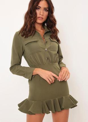 Платье креп дайвинг рубашка миди короткое повседневное с волонами длинным рукавом хаки