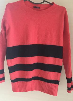 Теплый шерстяной полосатый свитер