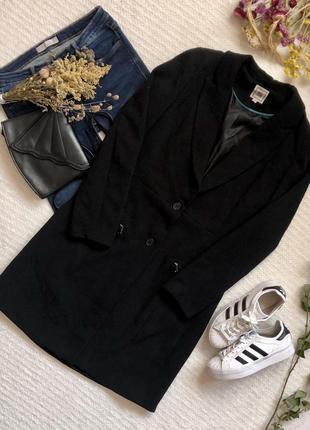 Лёгкое демисезонное чёрное пальто миди