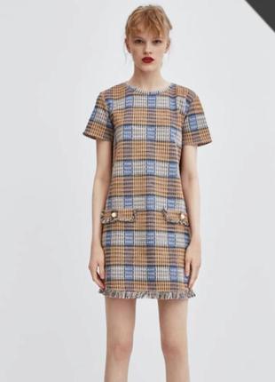 Твидовое платье в клетку zara