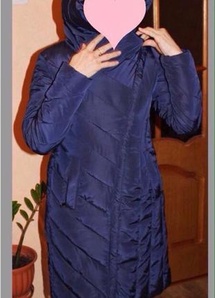 Зимнее теплое стеганое пальто-пуховик 44 размер