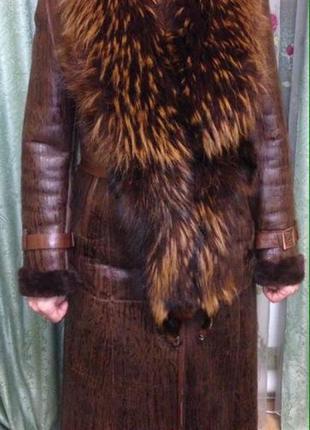 Теплая натуральная дубленка,44-размер