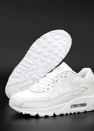 Nike air max 90 white белые ♦ мужские кроссовки найк ♦ весна лето осень