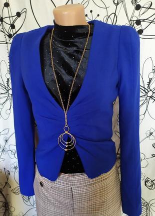 Яркий синий пиджак электрик48%вискоза