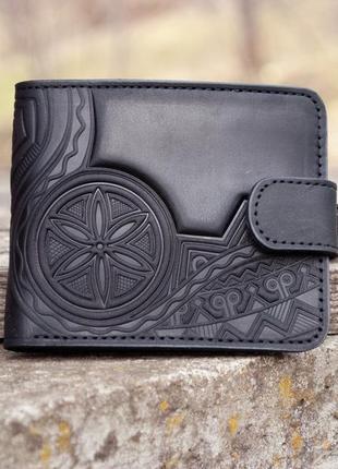 9 отделов кожаный мужской черный кошелек с орнаментом тиснением