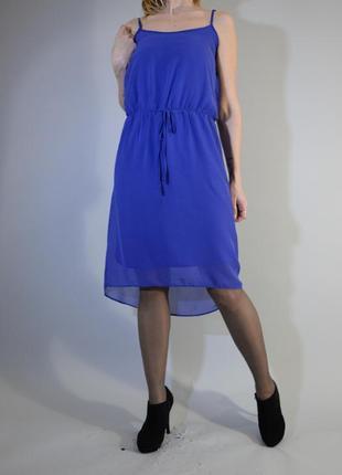 Синие платье миди на бретельках шифоновое с асимметричным низом