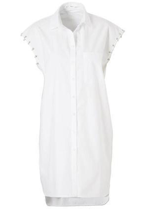 Белое хлопковое платье рубашка