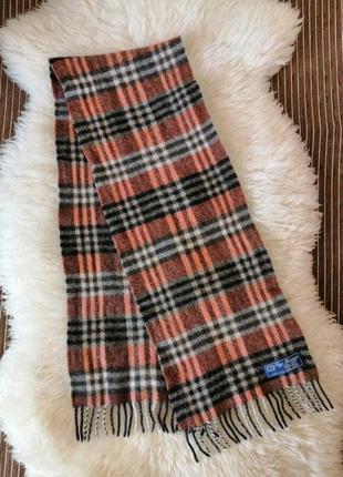 Шерстяной шарф fine merinos в клетку, сделано в италии