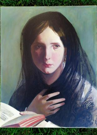 """Копія картини австрійського художника ф. фон амерлінга """"жінка за читанням"""""""