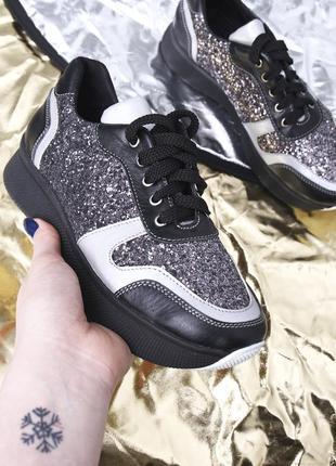 Стильные кожаные женские блестящие кроссовки на платформе натуральная кожа
