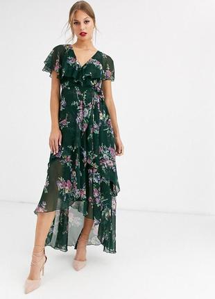 Нежнейшее шифоновое платье в цветы, платье на запах, изумрудное платье asos