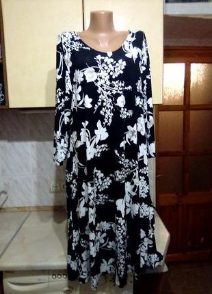 Стильное натуральное брендовое платье а-силуэт батал