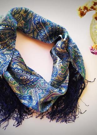 Натуральный шелк шарф платок узор двухслойный синий молочный бежевый голубой