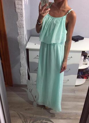 Летнее шифоновое мятное платье сарафан atmosphere макси в пол