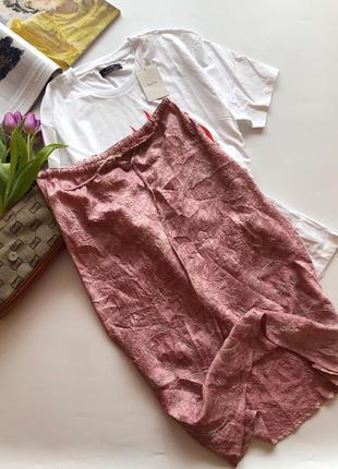 Шелковая жатая юбка миди river island pp m