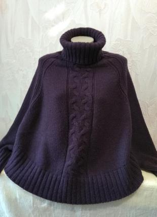 Теплый свитер/пончо сливового цвета в стиле бохо