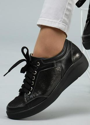 Кожаные женские черные стильные кроссовки натуральная кожа