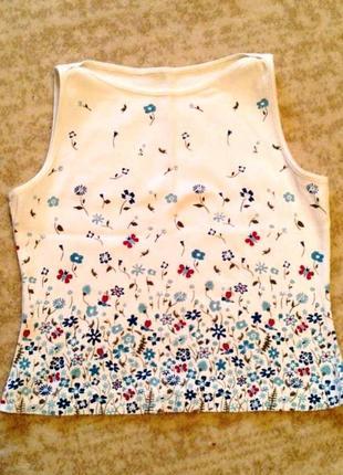 36-38р. майка-футболка в цветочек, хлопок