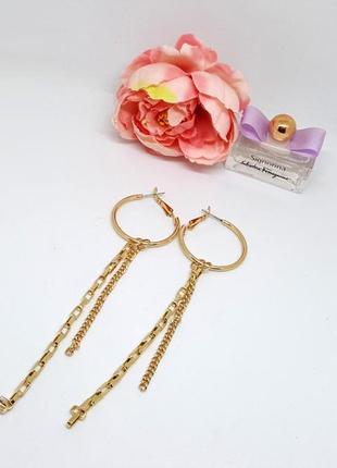 """🌻☀️ стильные длинные серьги-кольца с подвесками """"цепочки"""" от asos оригинал"""