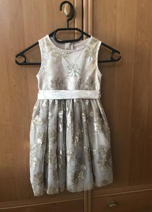 Атласное платье для девочки 3-4 лет