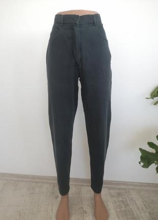 Темно зелёные винтажные джинсы на высокой посадке
