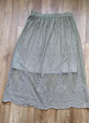 Кружевная юбка цвета хаки от miss selfridge