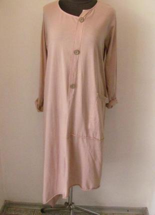 Платье с ассиметричным кроем, три пуговки, карман, рукав подворачивается, р.54-56, 1886м