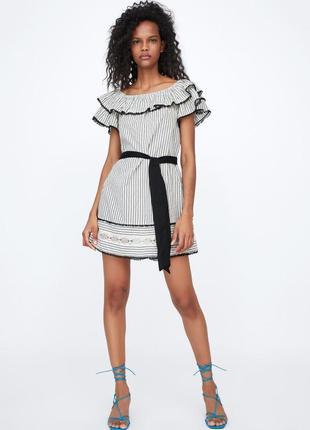 Платье zara с воланами и поясом