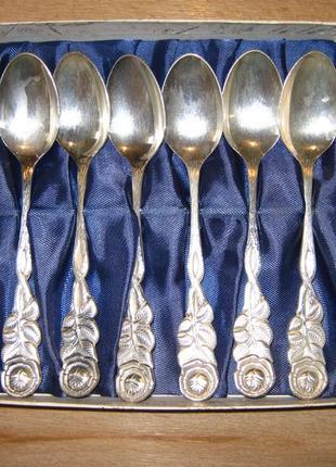 Набор чайных ложечек, 6 штук роза , s 100, серебрение германия.