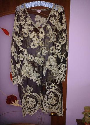Платье фатин, вышивка