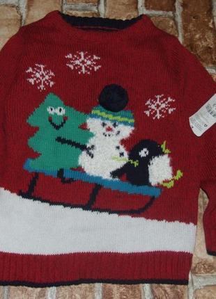 Новый свитер кофта мальчику 2 - 3 года nutmeg новогодний