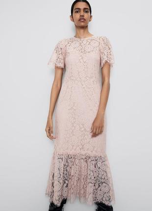 Нежно розовое кружевное платье zara
