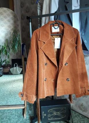Крутая трендовая вельветовая курточка короткий тренч с поясом