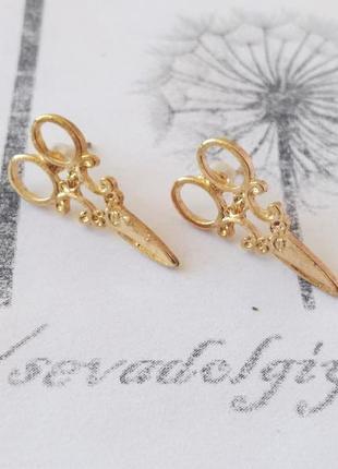 Распродажа! золотистые серьги гвоздики ножницы сережки, тематический подарок парикмахеру