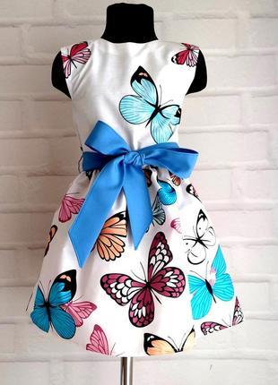 Детское платье с принтом бабочки. платье для девочки на лето. детское платье 110-140рр