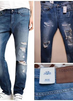 Классные рваные тертые джинсы от h&m, p. l 32 w 32
