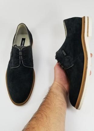 Mexx оригинал кожаные туфли броги оксфорды синего цвета 42 43