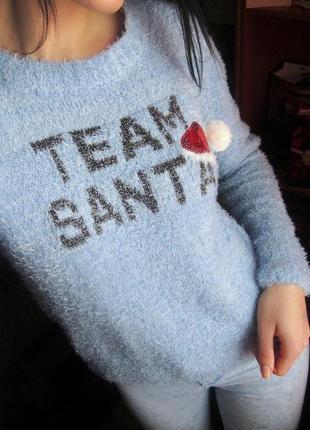 Голубой свитер травка, новогодний ,  пастельный цвет
