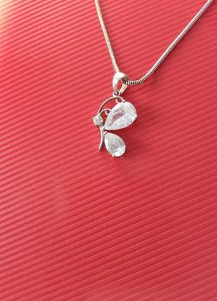 Кулон бабочка серебро