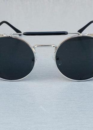 Christian dior очки женские солнцезащитные круглые в серебристой металлической оправе
