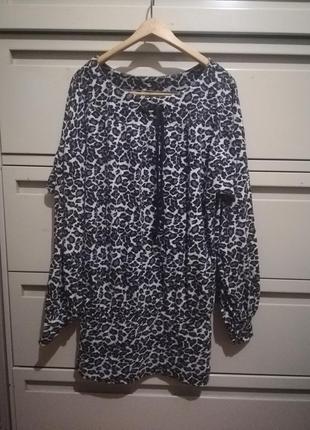 Мини платье туника леопардовый принт