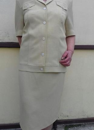 Классический летний костюм ara, нежного песочного цвета 52р.