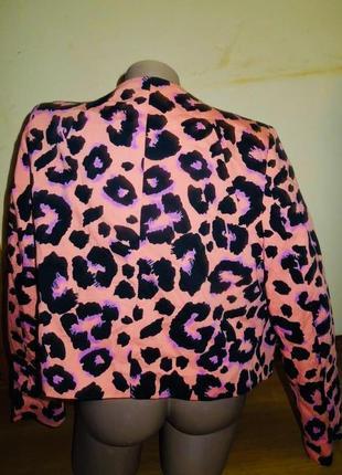 Жакет пиджак леопардовый неоновый на молнии2 фото