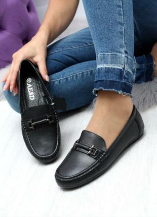 Кожаные чёрные мокасины слипоны балетки туфли натуральная кожа