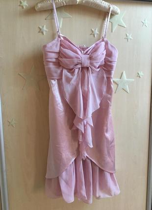 Платье миди бельевой стиль брители нарядное шелковое атласное шифоновое пудровое