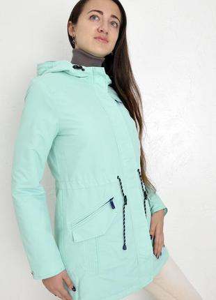 Парка ветровка деми куртка мятного цвета